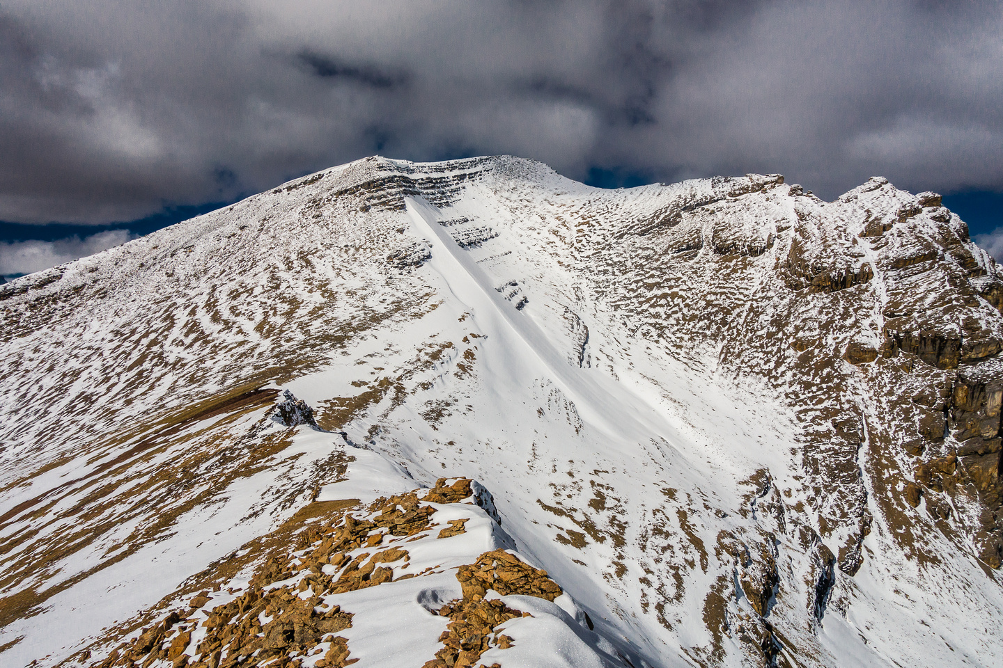 View ahead to the true summit from the false one - note the elevation loss.