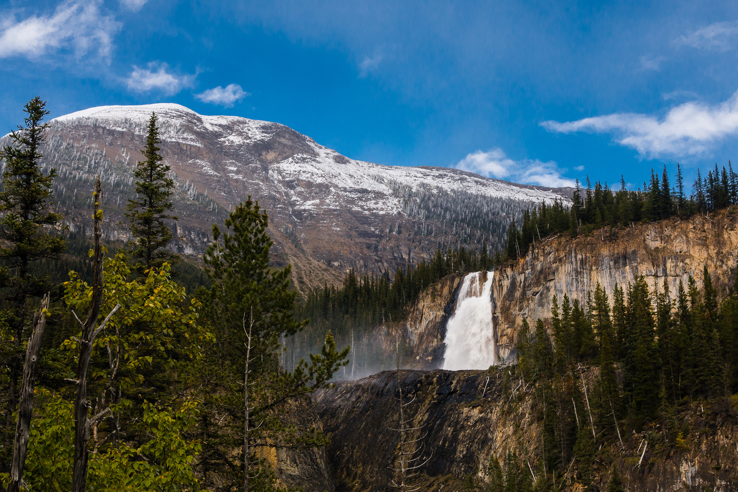 Emperor Falls plunges into the channel that is high above the valley that the Robson River must have run down previously
