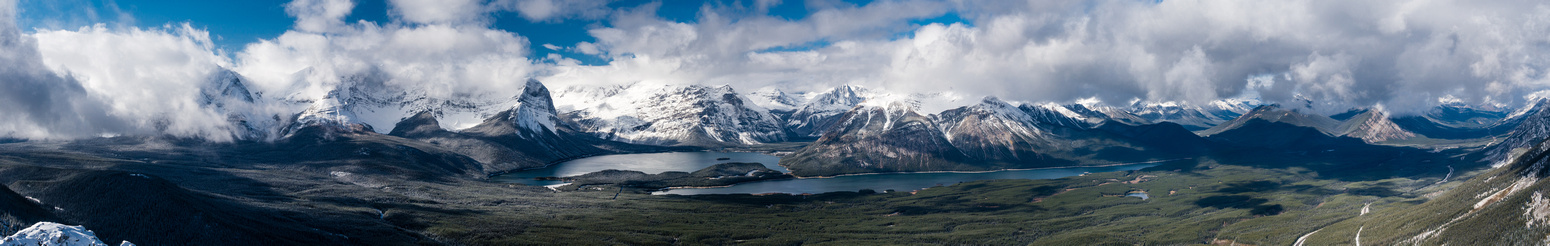 A zoomed in pano of the Upper and Lower Kananaskis Lakes and many peaks that I've ascended there.
