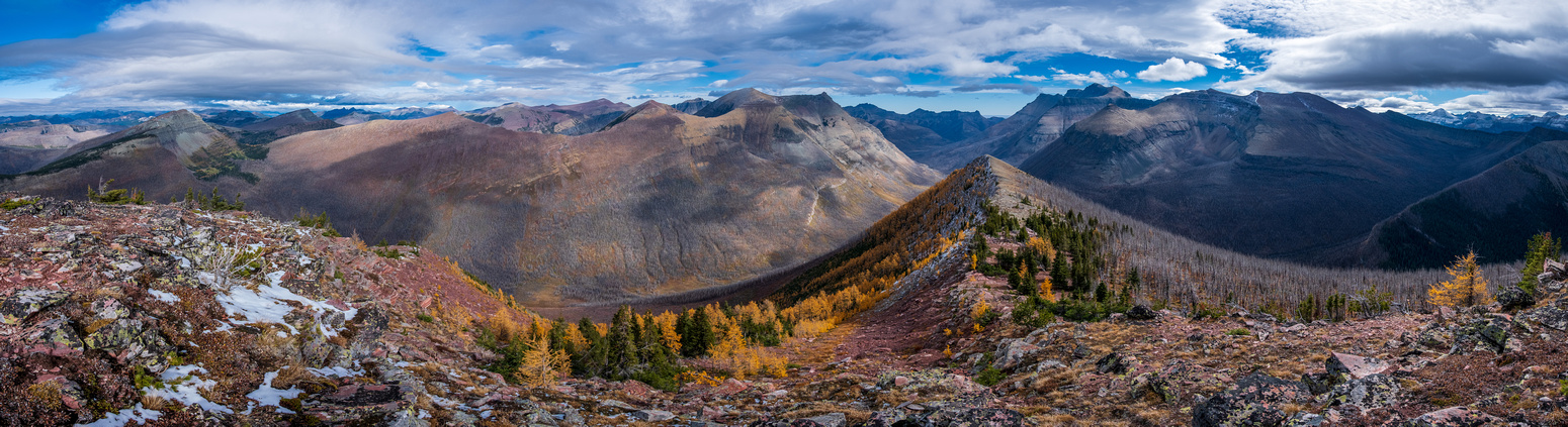 Views east to many Waterton peaks from Kishinena (L) to Bauerman, Lost, Anderson,  Blakiston (R).