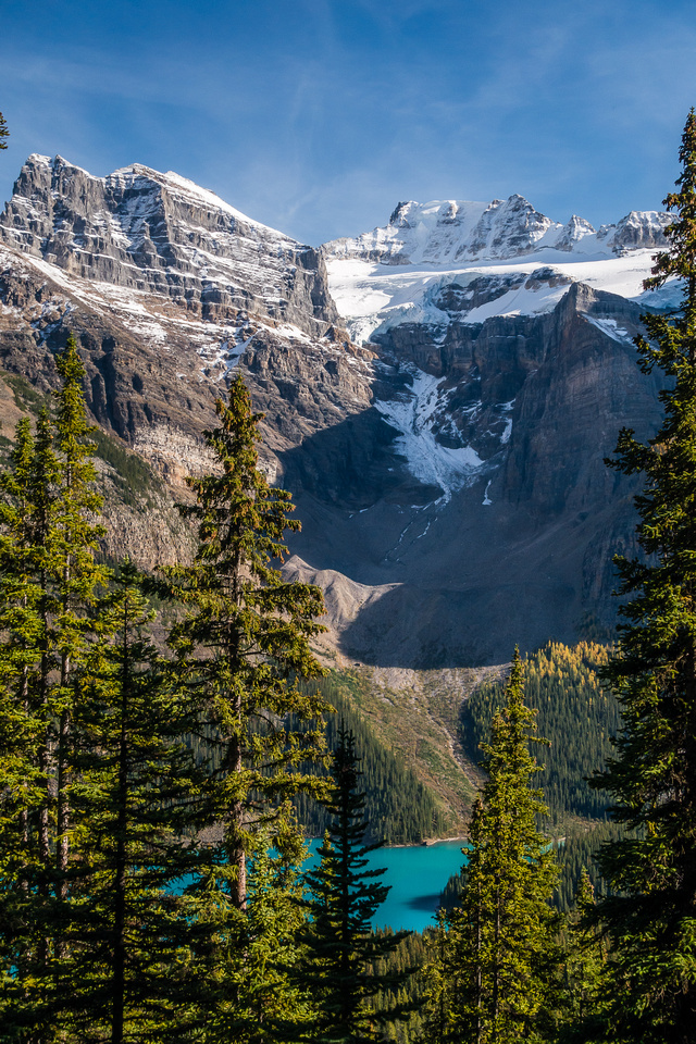 A view of Mount Fay over Moraine Lake.