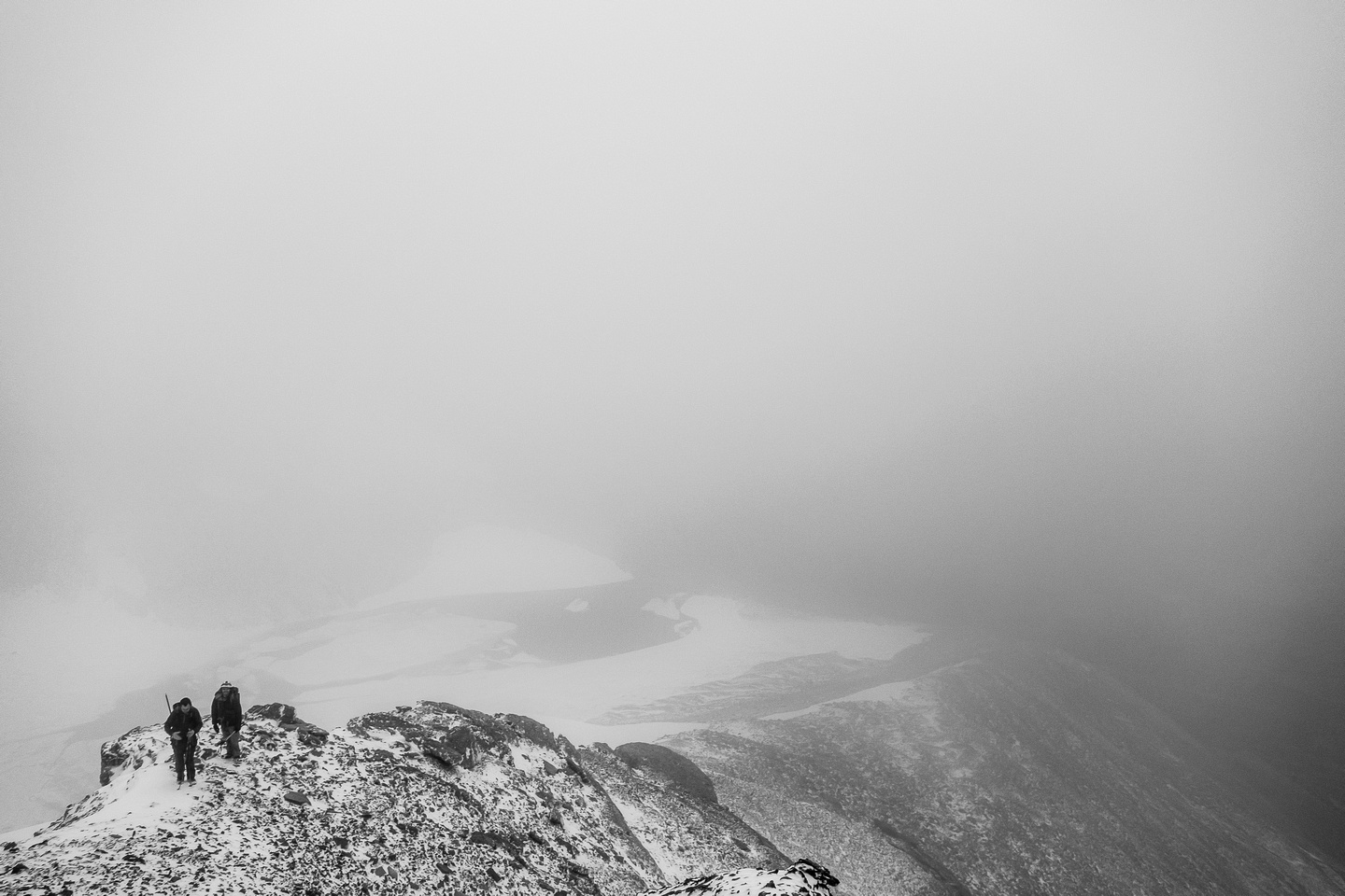 Eric and Ben on the south ridge - now we're in the clouds.