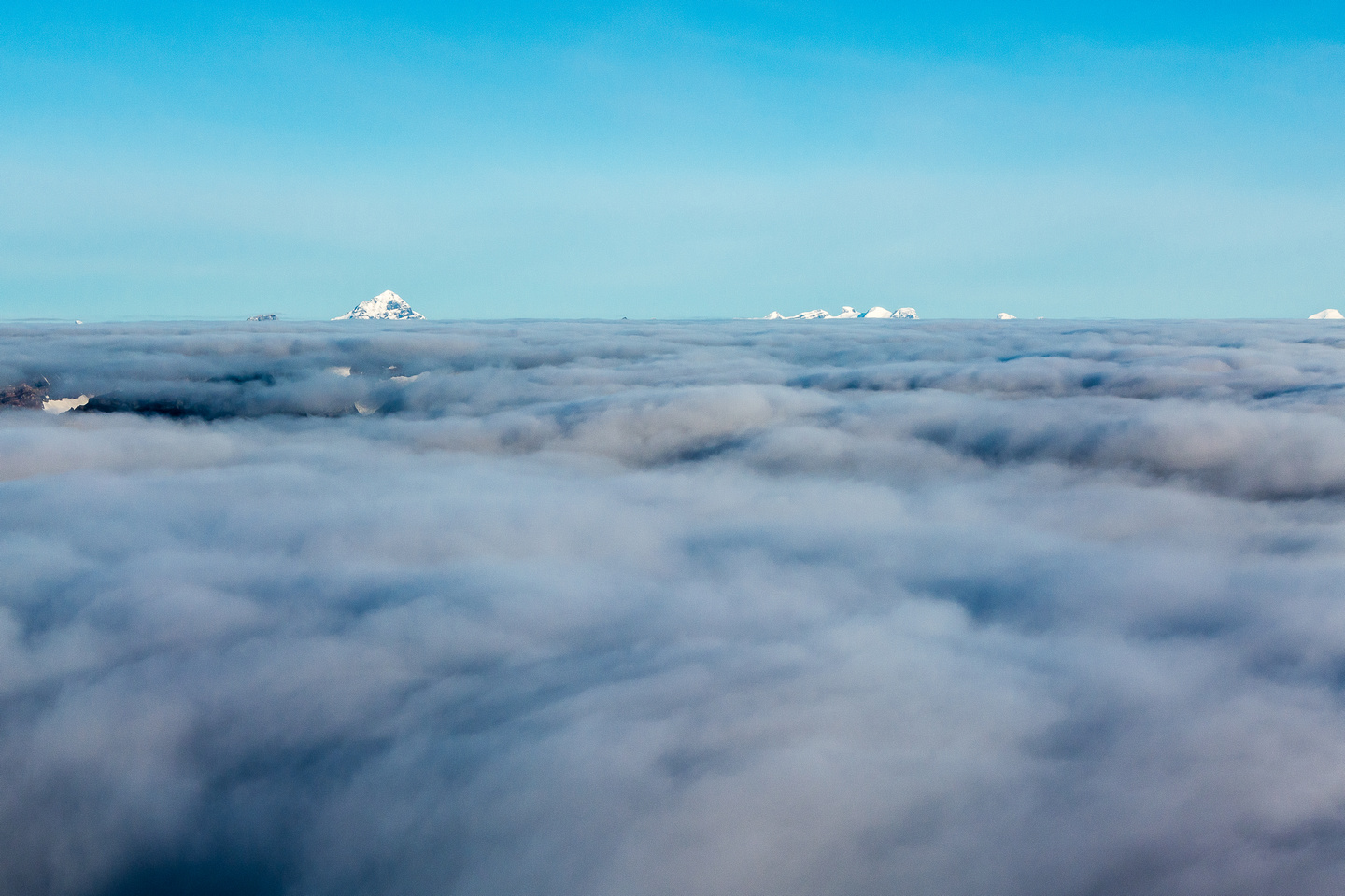 Forbes and the Lyells are the only summits above the clouds.