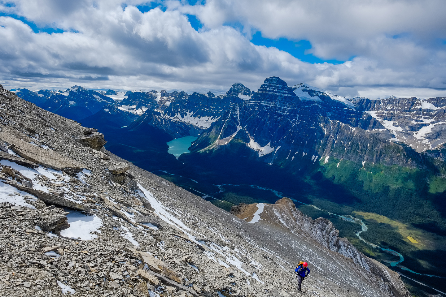An incredible panorama of peaks and variety / color of lakes and rivers is the reward for breaking through the cliff bands guarding Bison's summit.