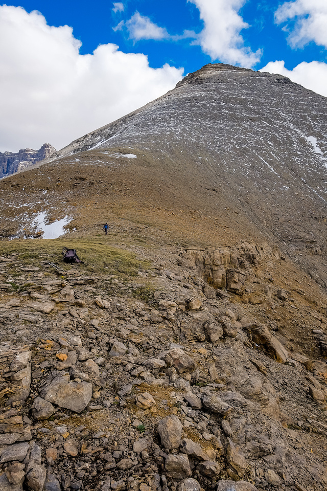 We checked out the highest buttress before continuing down the upper (steep) access gully.