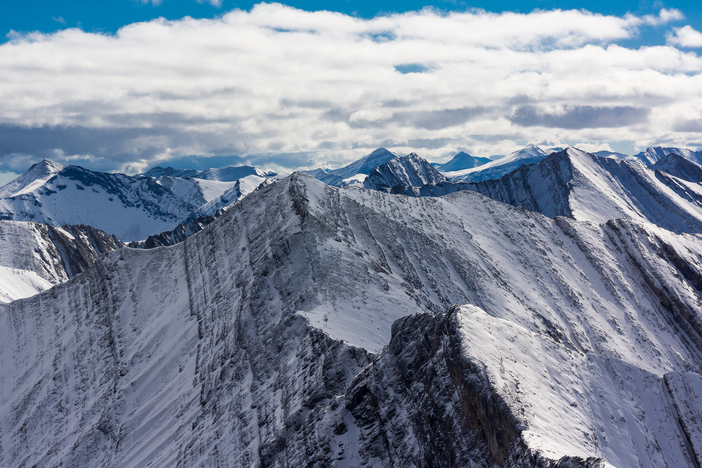 Looking over the ridge traverse to the summit of McDougall.