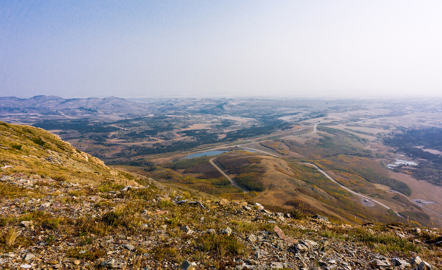 Looking back out over the prairies to the north east where Pincher and Drywood Creeks run out of the mountains.