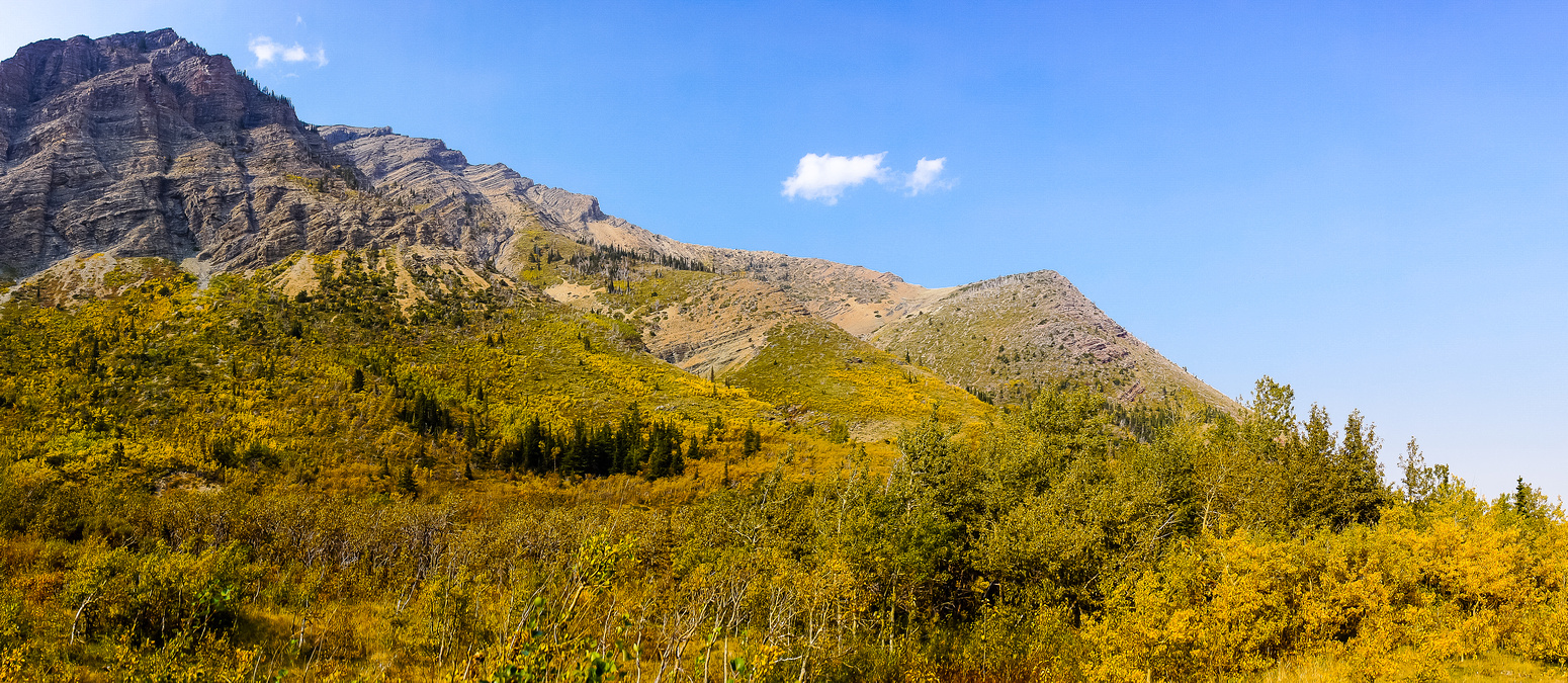 Pincher Ridge and fall colors as seen from the descent road. I ascended from right to left.