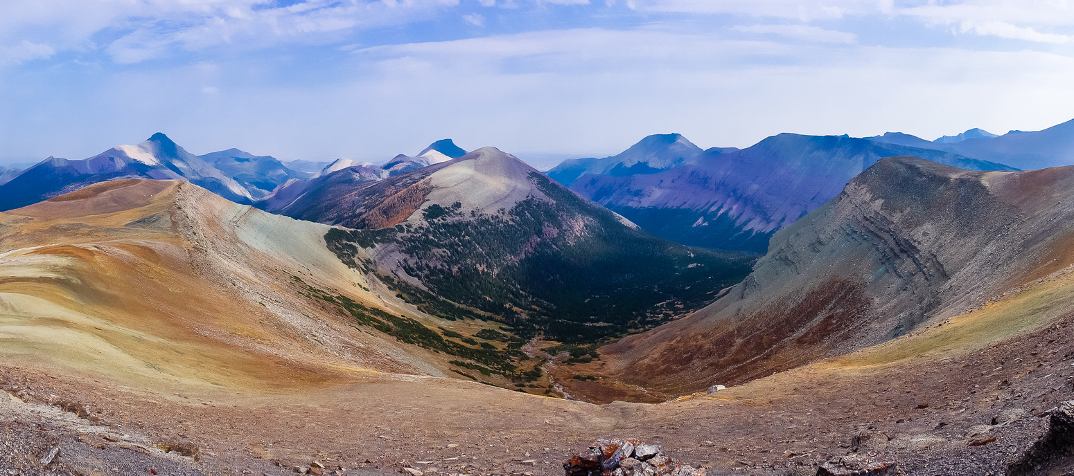 Looking down the Drywood Creek valley, Victoria Peak, Pincher Ridge and Drywood Mountain from left to right.