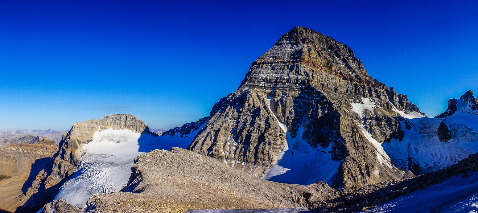 Impressive views of Mount Assiniboine with Magog at left.