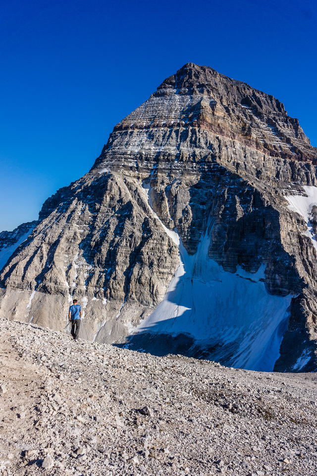 Kev heads down the slopes to the col, Assiniboine brooding above.