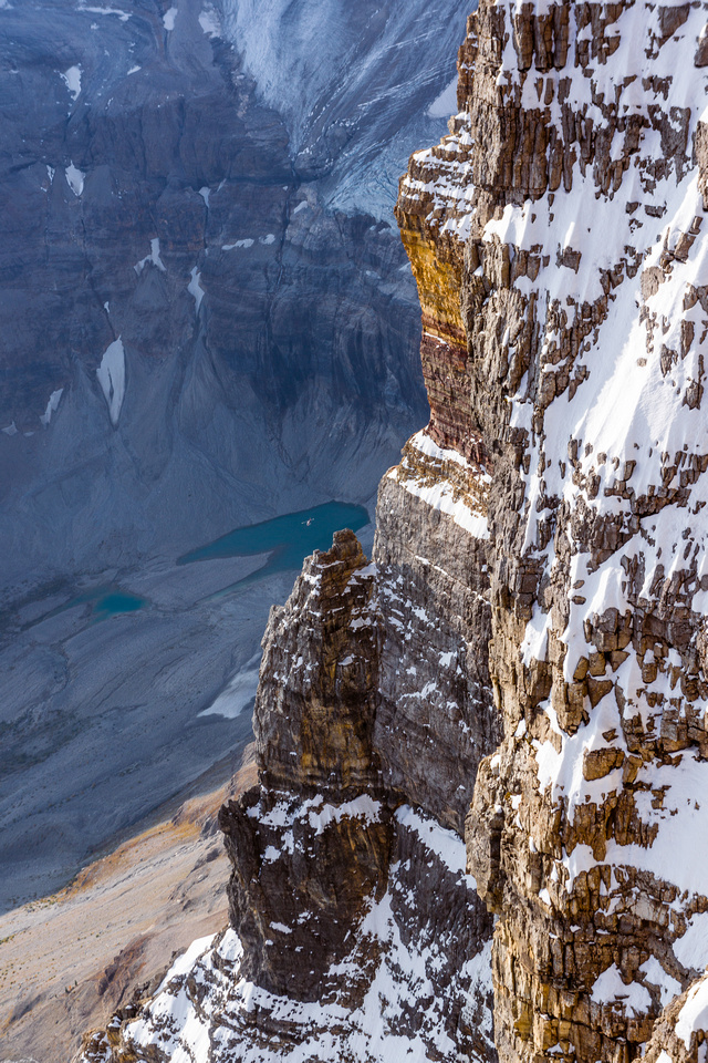 Looking down over the east face of Assiniboine.