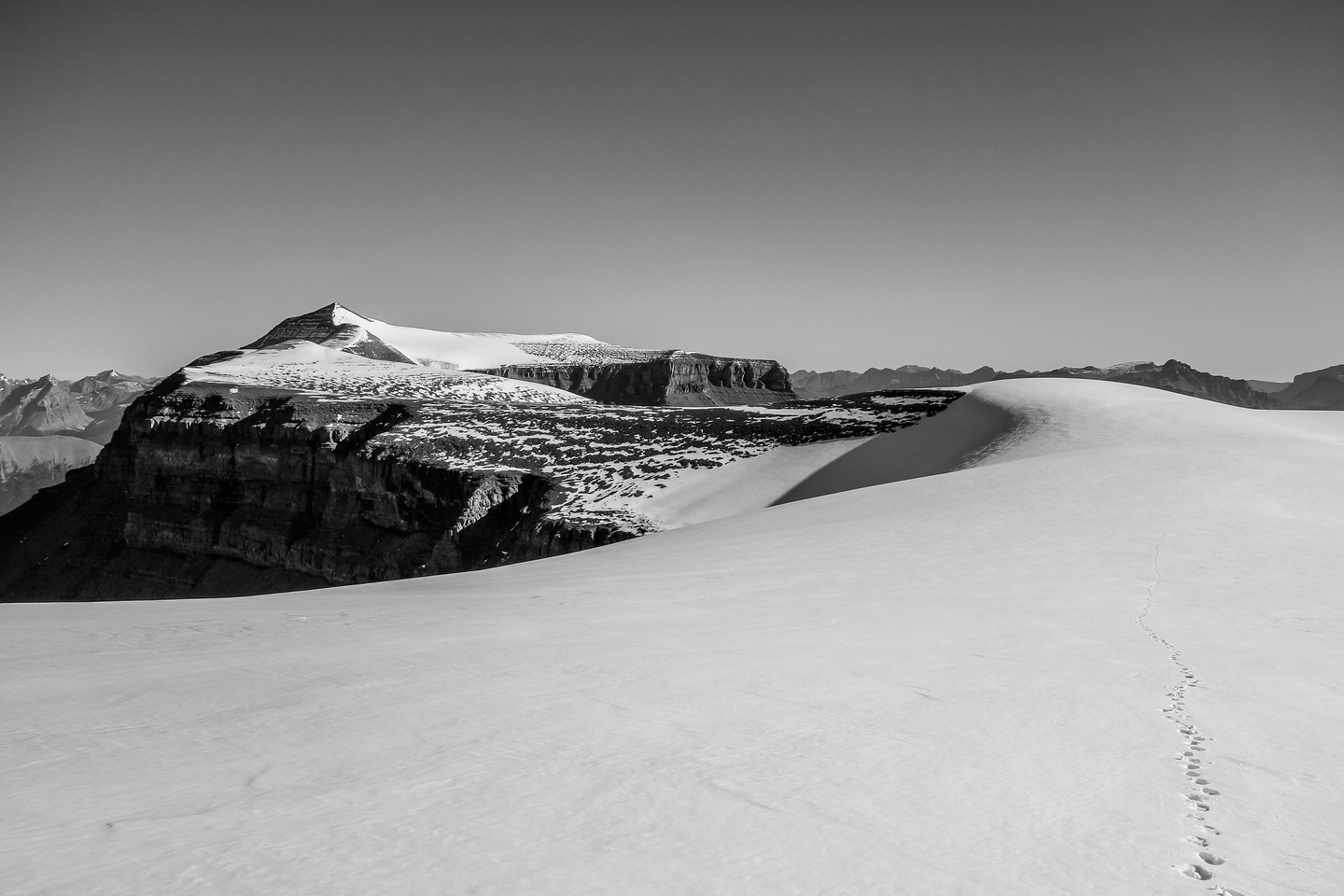 Looking back at Amery from the south end of the Monchy Icefield.