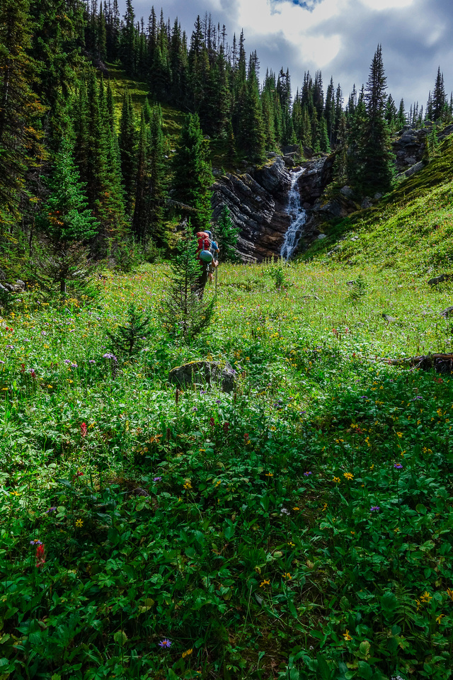 A small waterfall along the way to the alpine meadows above the fifth lake.