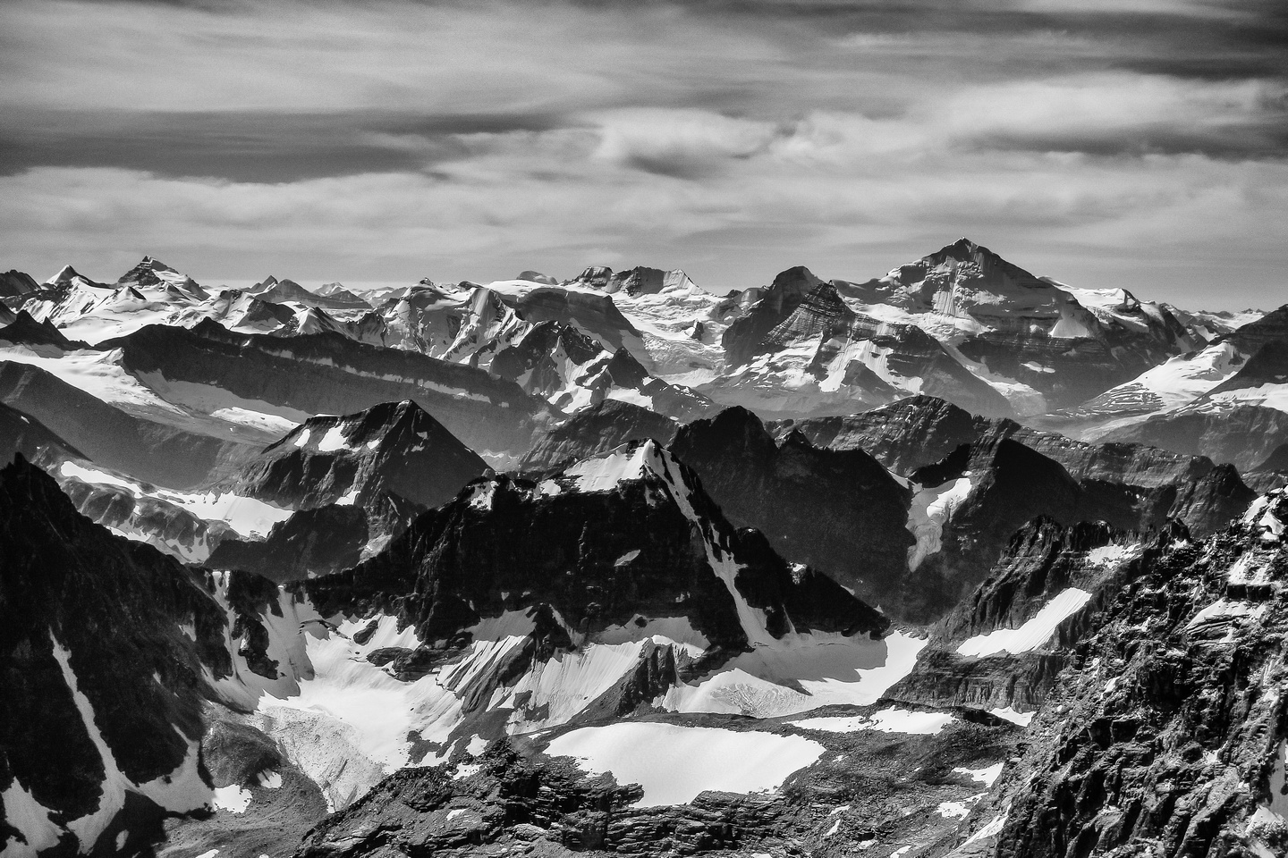 One of the highest peaks in the Rockies - Mount Clemenceau with Shackleton and Tsar to the left.