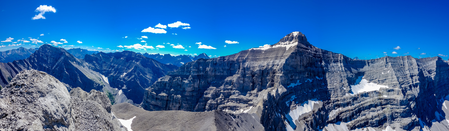 Kidd North and South. Bogart at center and even Mount Assiniboine just peaking out to the right of Bogart's summit.