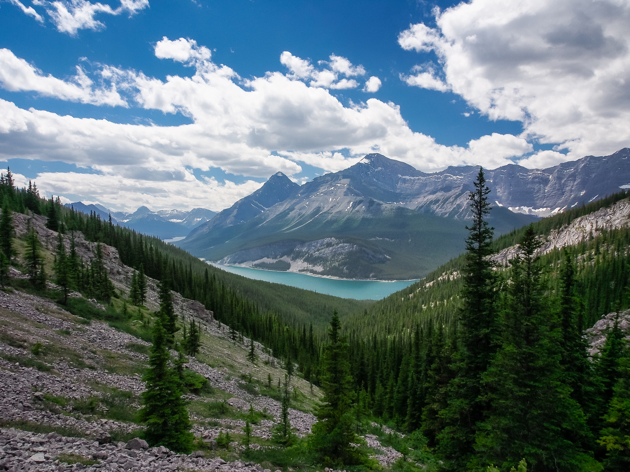 Looking at Spray Lakes from West Wind Pass.