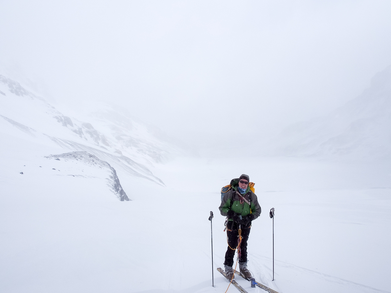 Past the seracs and part way up the ramp to the Columbia Glacier neve. We're still smiling at this point.