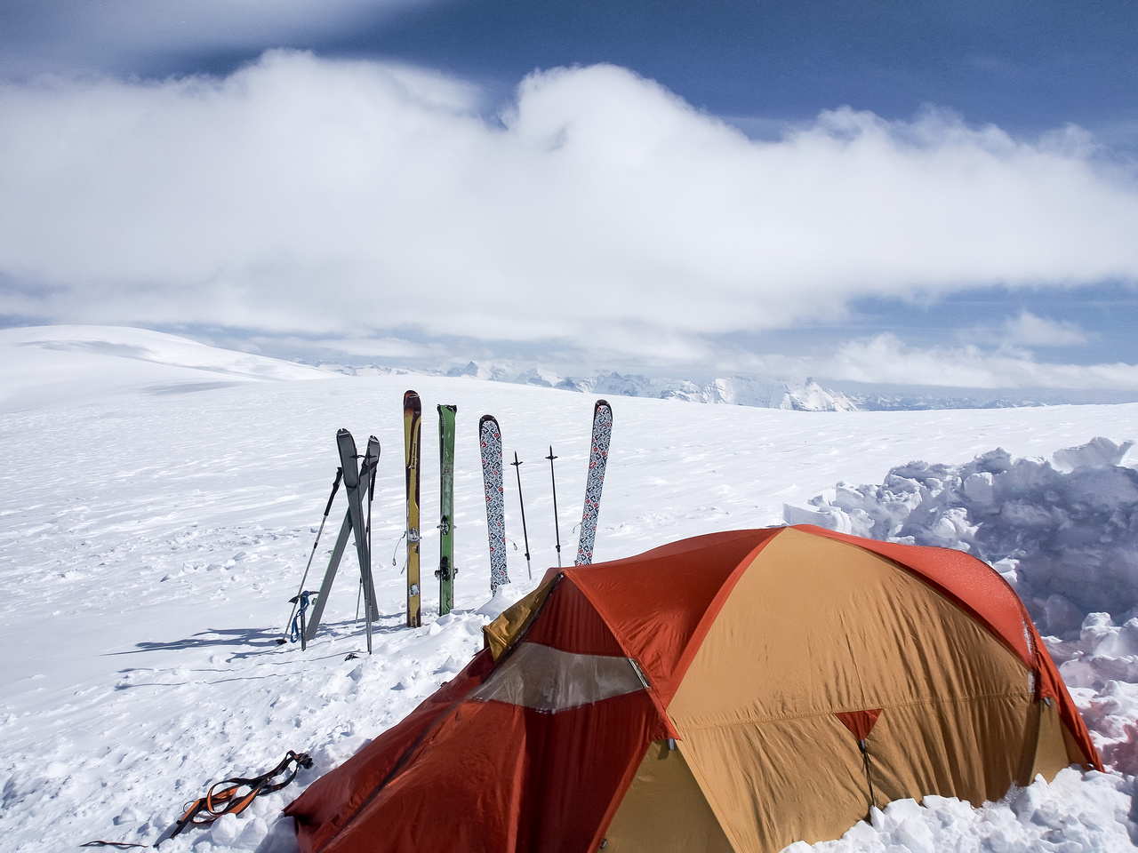 A major part of winter camping, especially on windy and exposed ice fields is digging in a good camp.