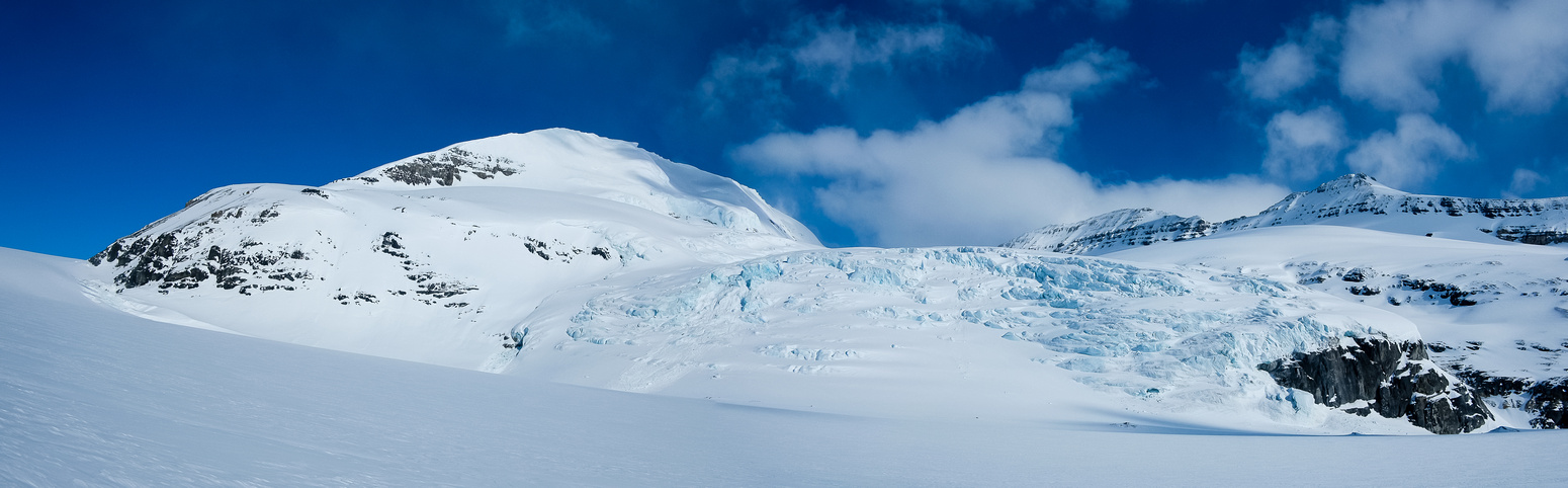 Part of Andromeda's southern end to our right as we ski up the glacier.