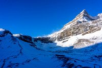 View towards Bow Falls and Portal Peak on the upper right - one of the only scrambles on the Wapta Icefield.