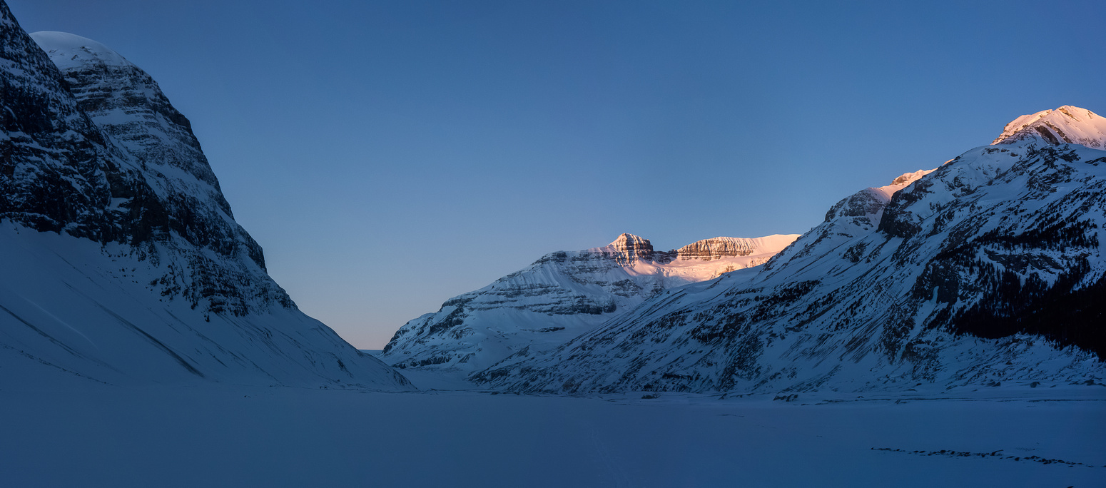 Sunrise on Andromeda and Athabasca as we can now see the Saskatchewan Glacier in the distance.