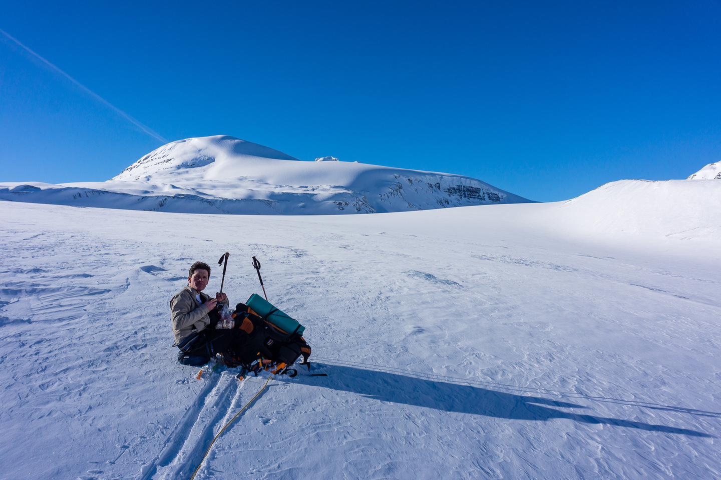 Skiing up the Saskatchewan Glacier.