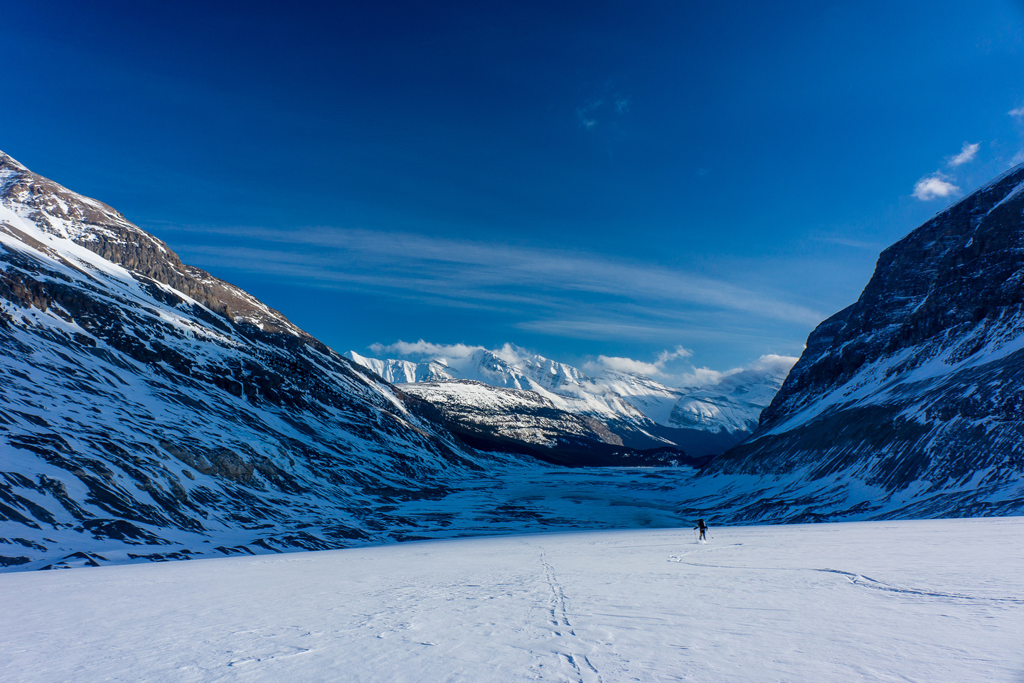 Skiing down the Saskatchewan Glacier.