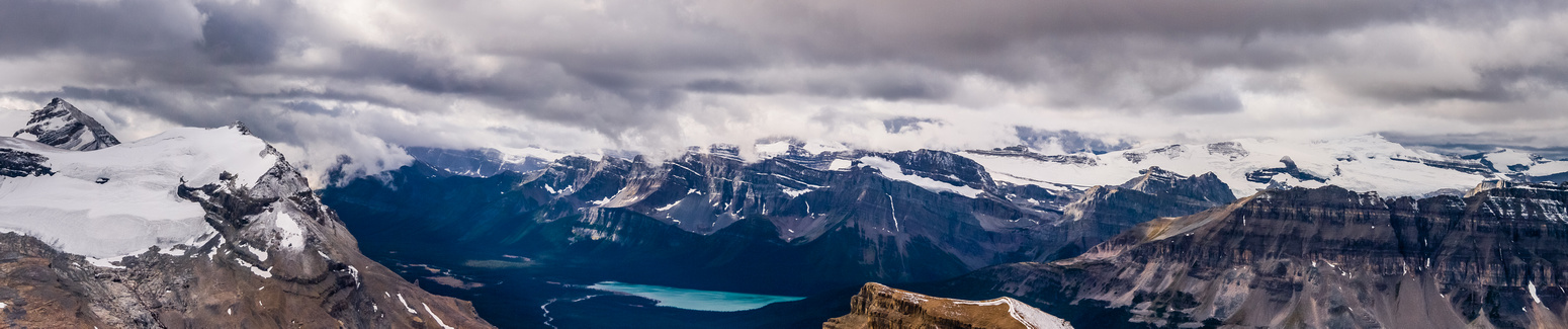 Hector, Andromache,Hector Lake, Balfour, Bow Peak, Bow Lake and the Wapta Icefield.
