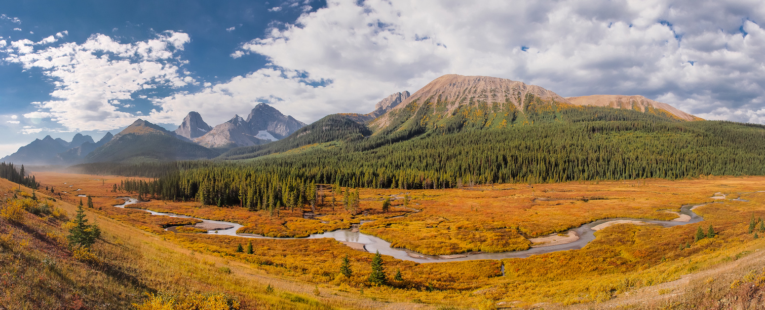 We drove from Canmore via the Spray Lakes road and enjoyed these sublime views around Tent Ridge (r) with Commonwealth Ridge at left.