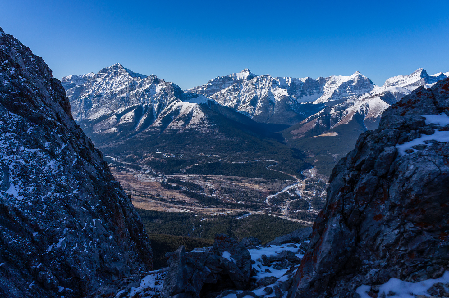 Kananaskis Village through a gap in the upper ridge.
