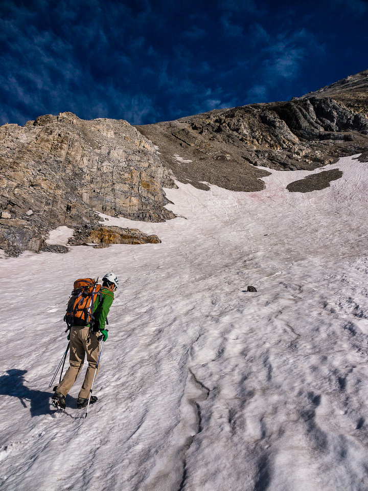 Starting the long haul up the south access slope on Mount French.