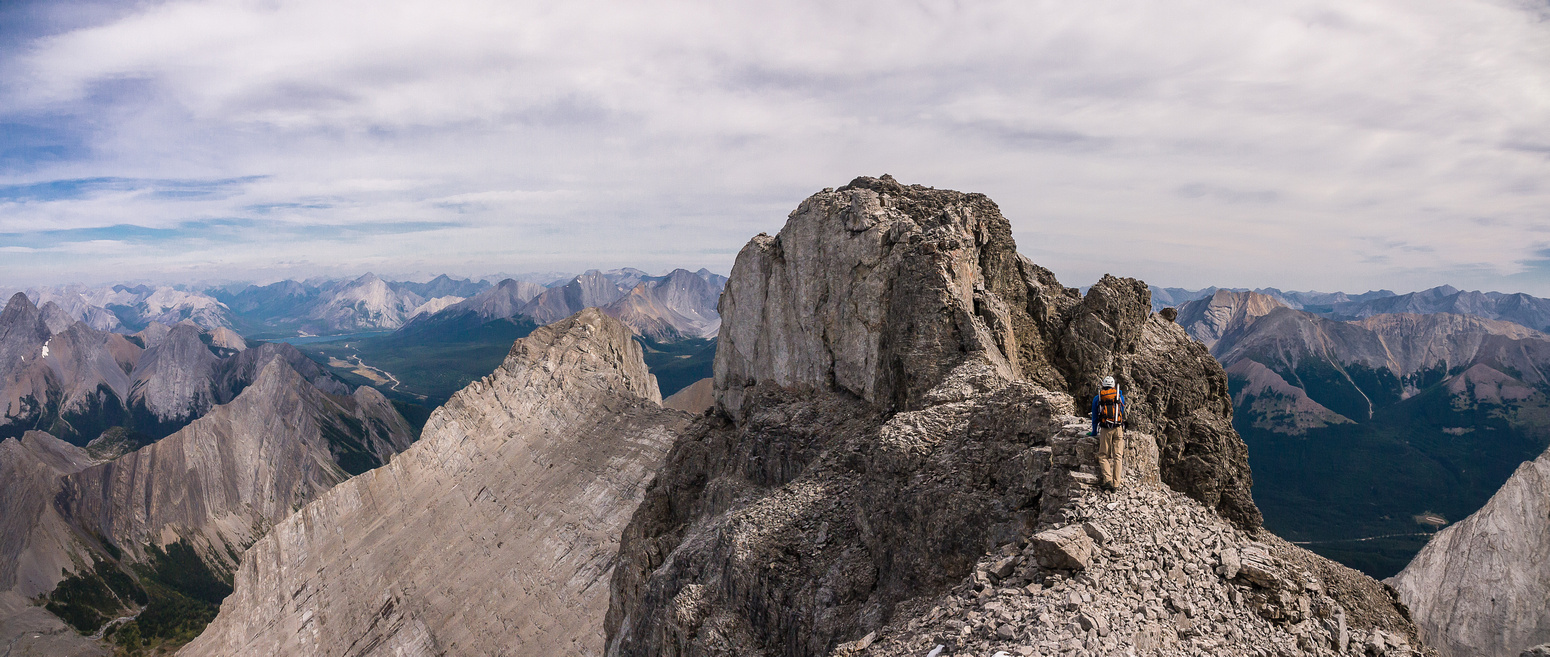 The summit block. We detoured the ridge down to the right and back up a loose gully.