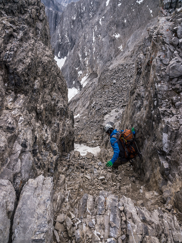 The steep gully under the summit.