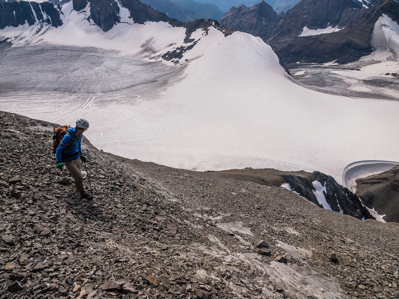 Looking down the SW scree slopes of French.