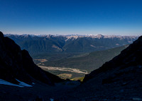 Getting even higher now, looking down the massive gully over the Kicking Horse River.