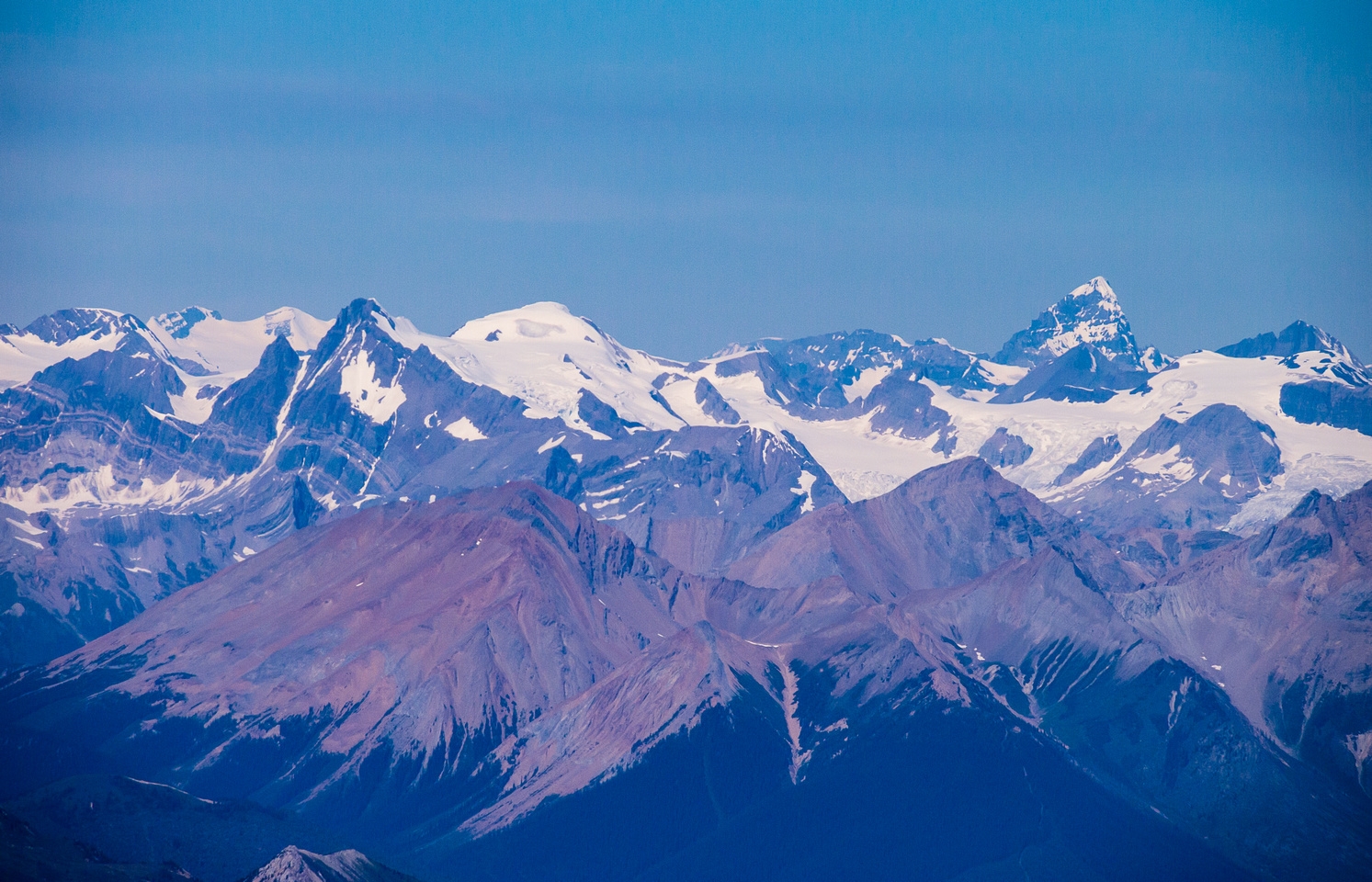 Mount Forbes is easily visible from Vaux. Of course, it's always visible as the highest point in Banff National Park.