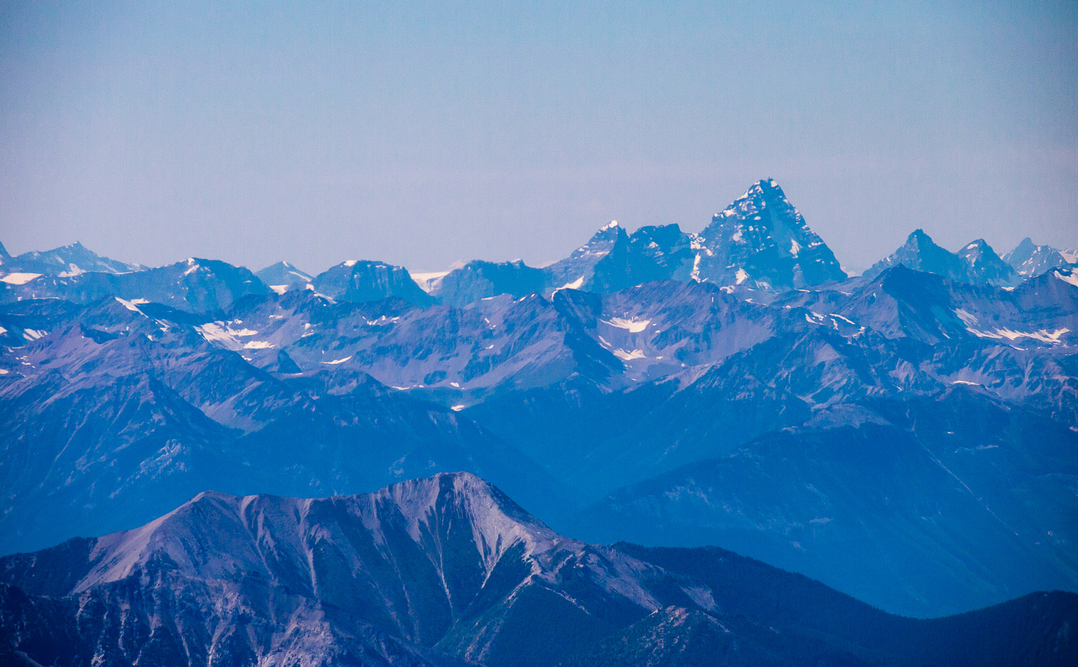Mount Sir Donald is another giant peak to the west in the Selkirk mountain range.