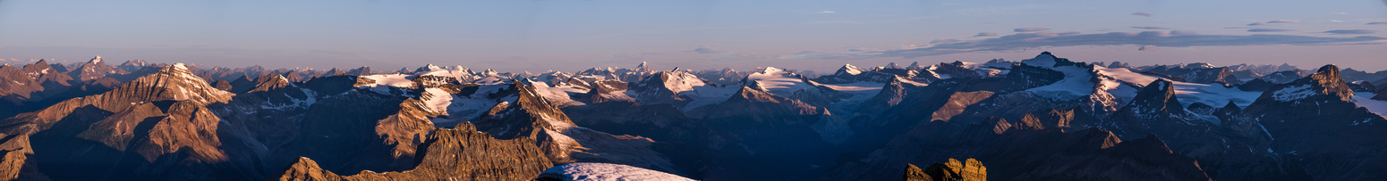 A panorama of most of the Yoho peaks and Wapta Icefield.