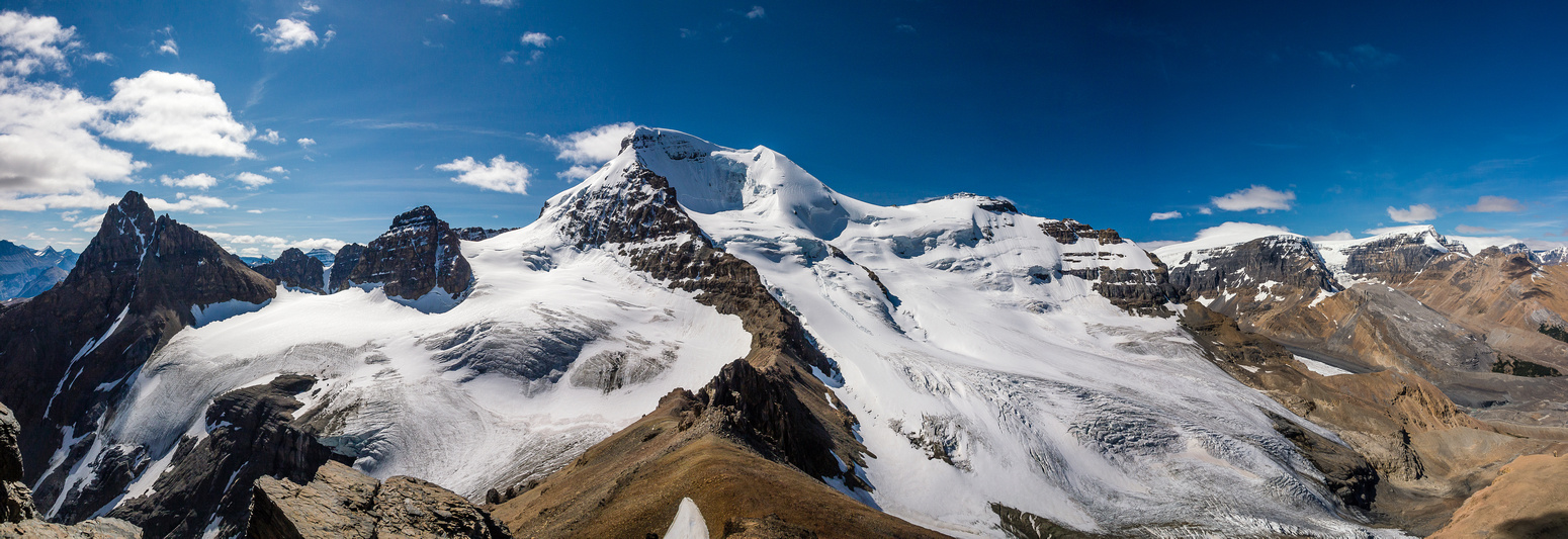 The first ascent of Athabasca ascended across the north glacier from right to left to the ridge in the foreground