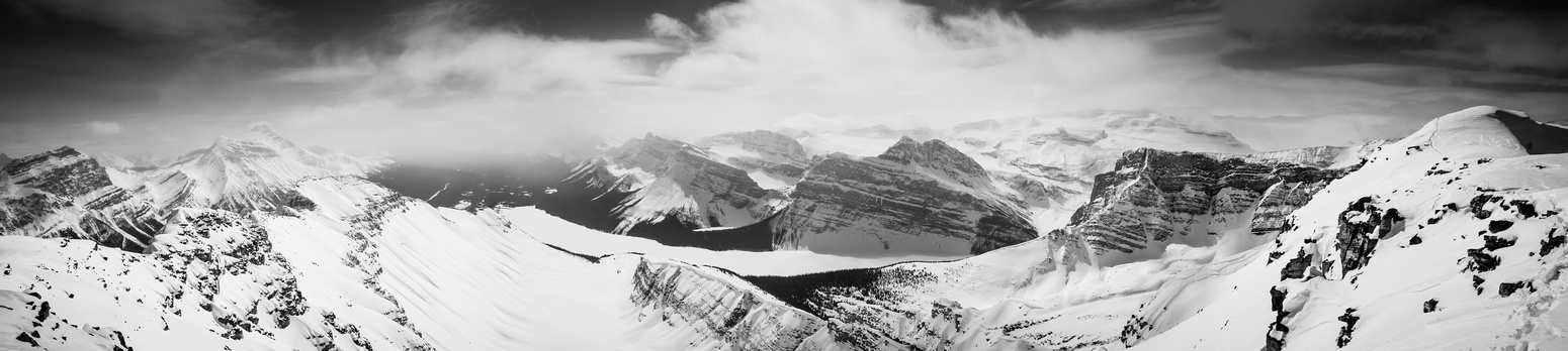Looking south over Hector Lake. Hector on the left, Pulpit at center and Lilliput and Balfour in clouds on the right.