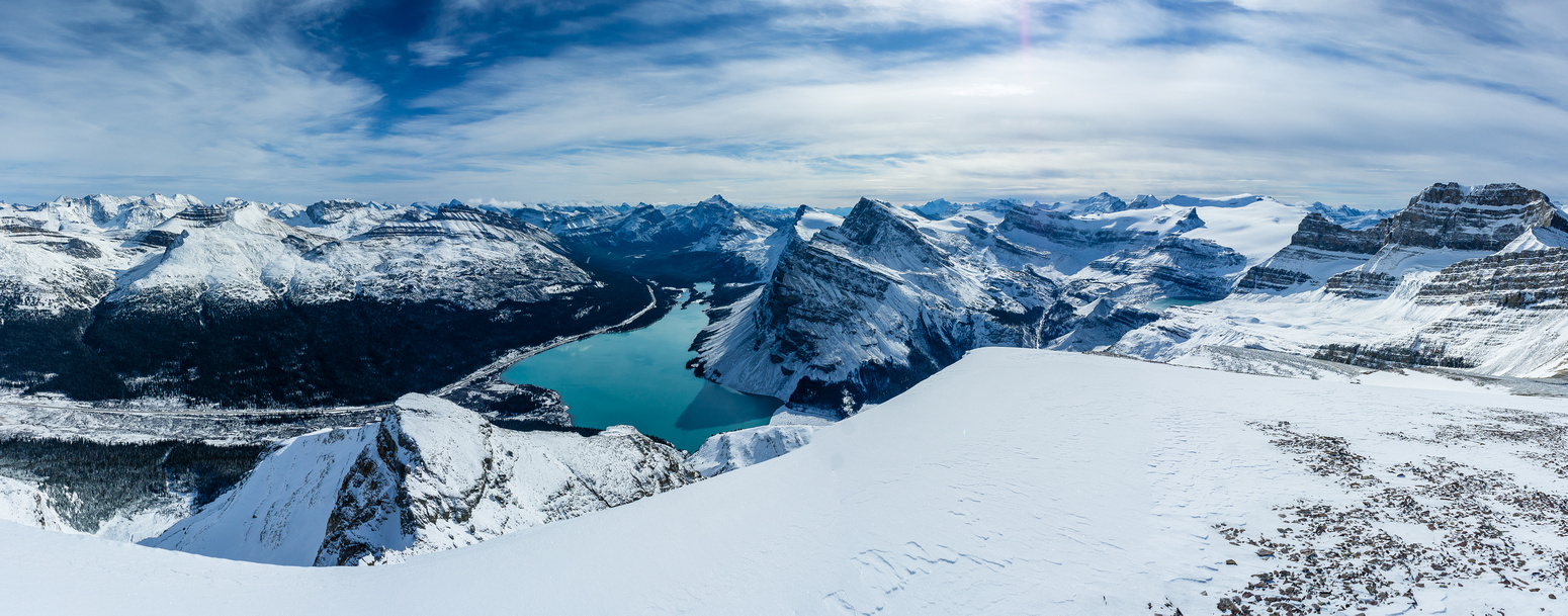 Looking south over the icefields parkway (L), Bow Lake and the Wapta (R).