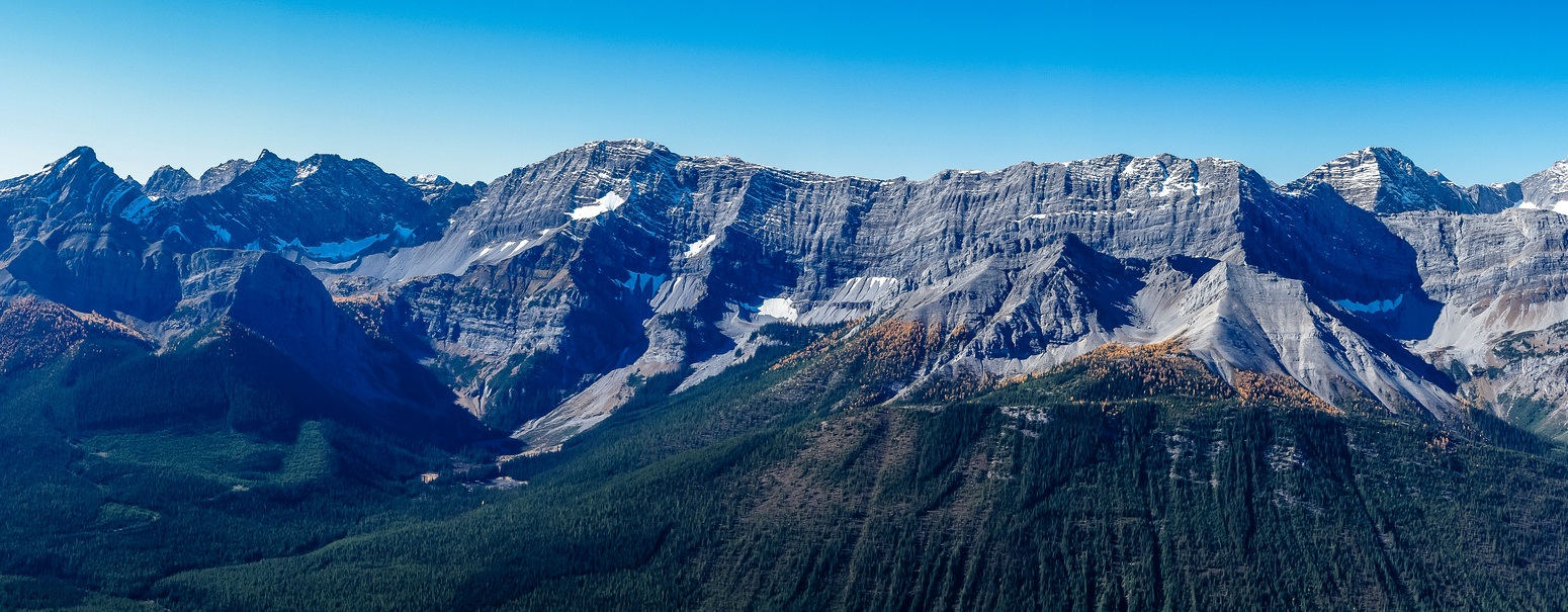 Looking across the Spray Lakes valley to the south towards Warspite, Black Prince and Jellico.