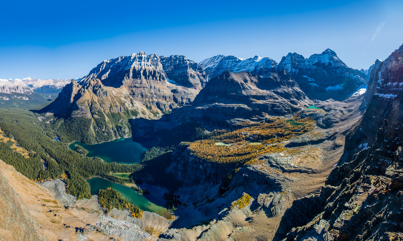 Wiwaxy, Victoria, Huber, Lefroy, Yukness, Ringrose, Hungabee and lakes (L to R), Mary Lake, Lake O'Hara, Moor Lakes, Hungabee Lake and Opabin Lake.