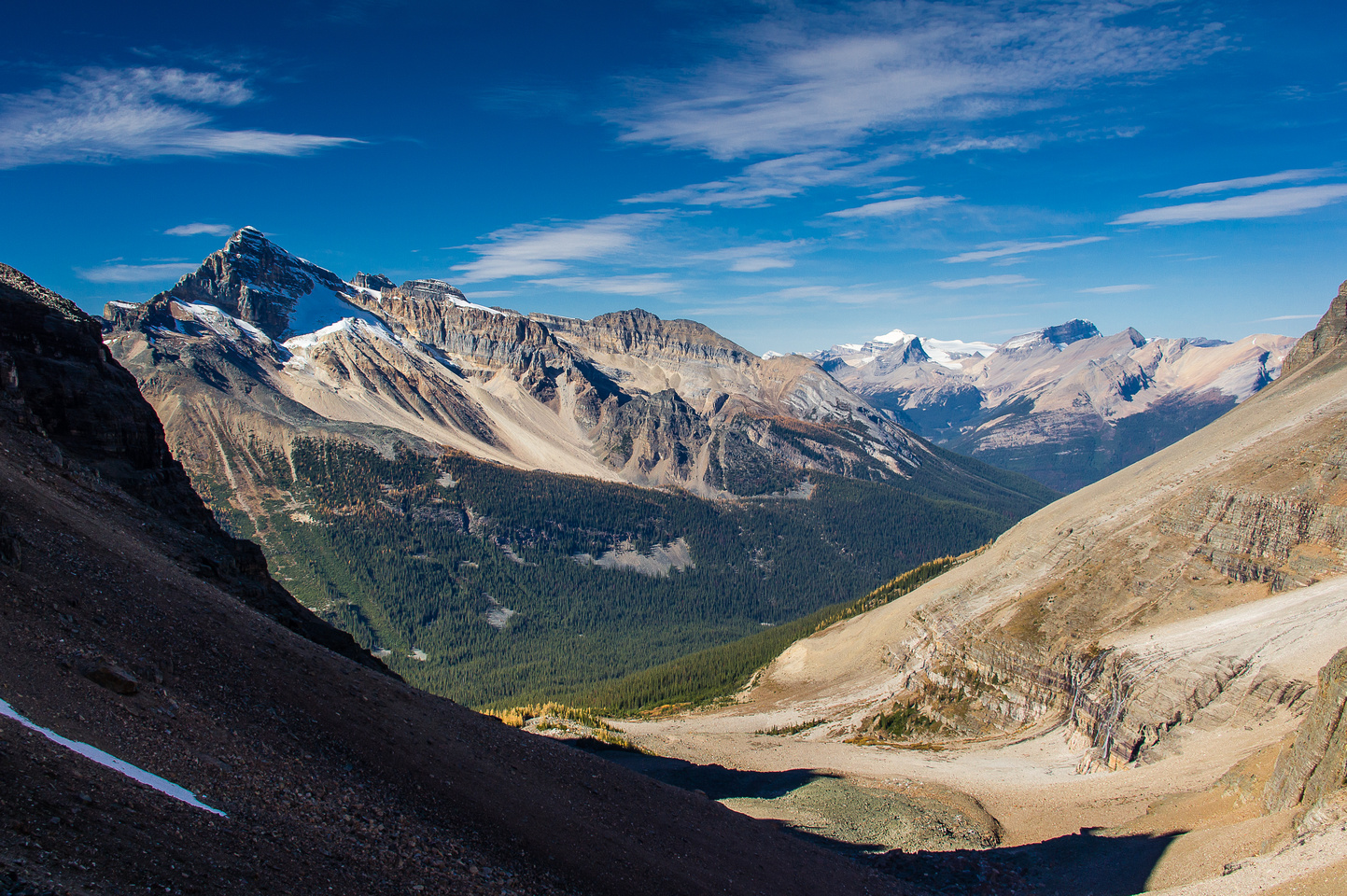 Looking down the north side of the col over the approach valley for the Lake O'Hara region with Cathedral rising on the left.