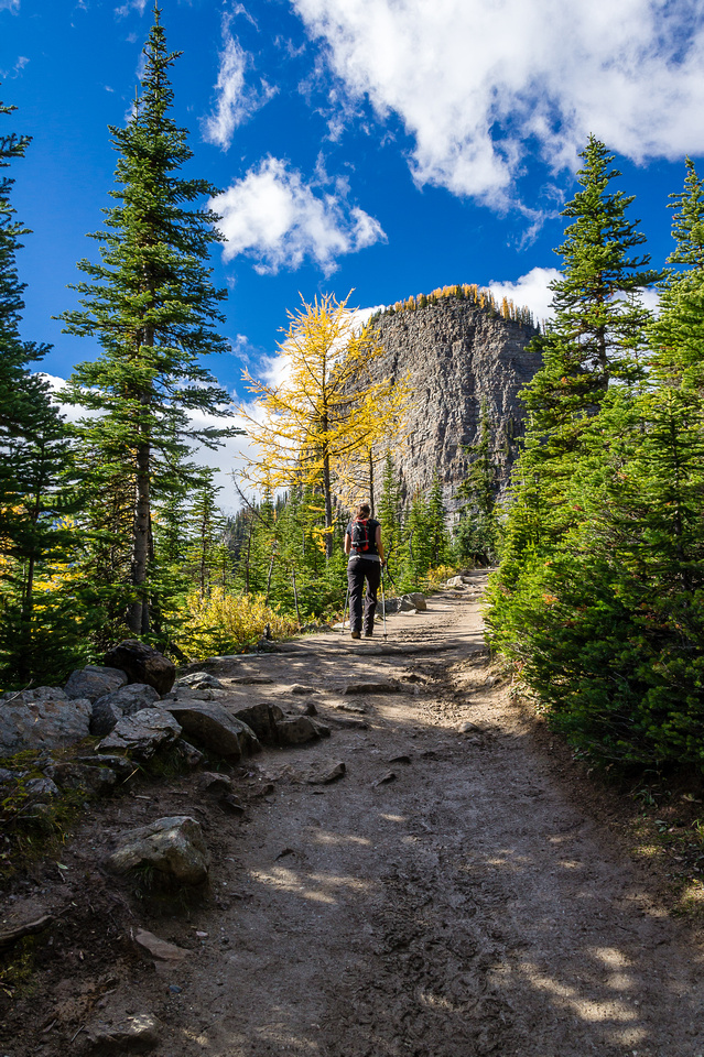 Hanneke walks up the trail to Lake Agnes - The Beehive looms above.