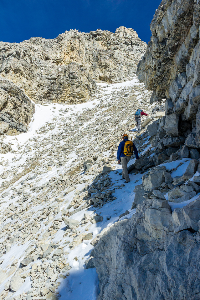 The final scree gully to the summit ridge.