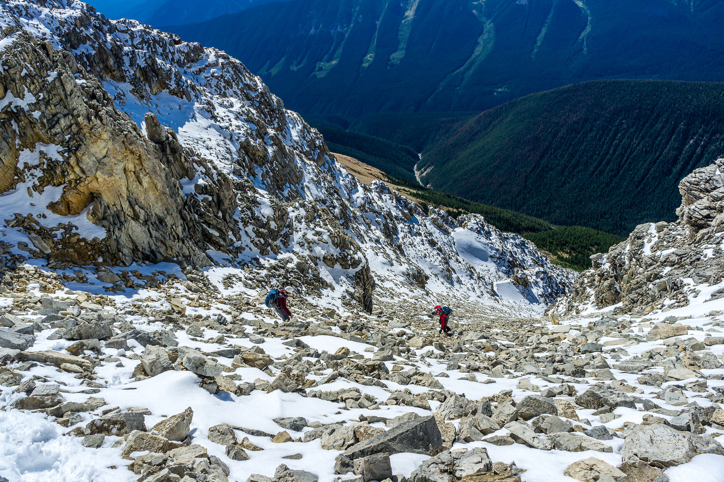 Descending the scree gully.