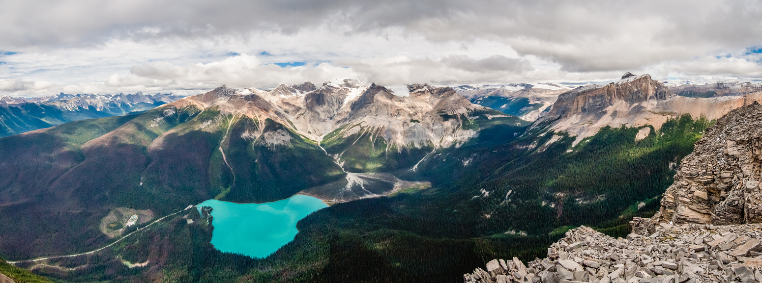 A lovely summit view of (L to R), Carnarvon, Emerald, Marpole, President, Vice President, Michael and Wapta Mountain.
