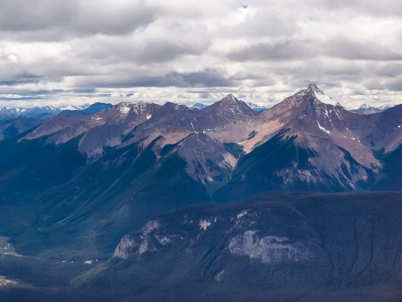 Peaks in the Van Horne Range, west of the TCH and the Ottertail Range (Vaux, Chancellor, Goodsir Towers).